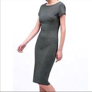 Zara jacquard knit cap sleeve backless midi dress